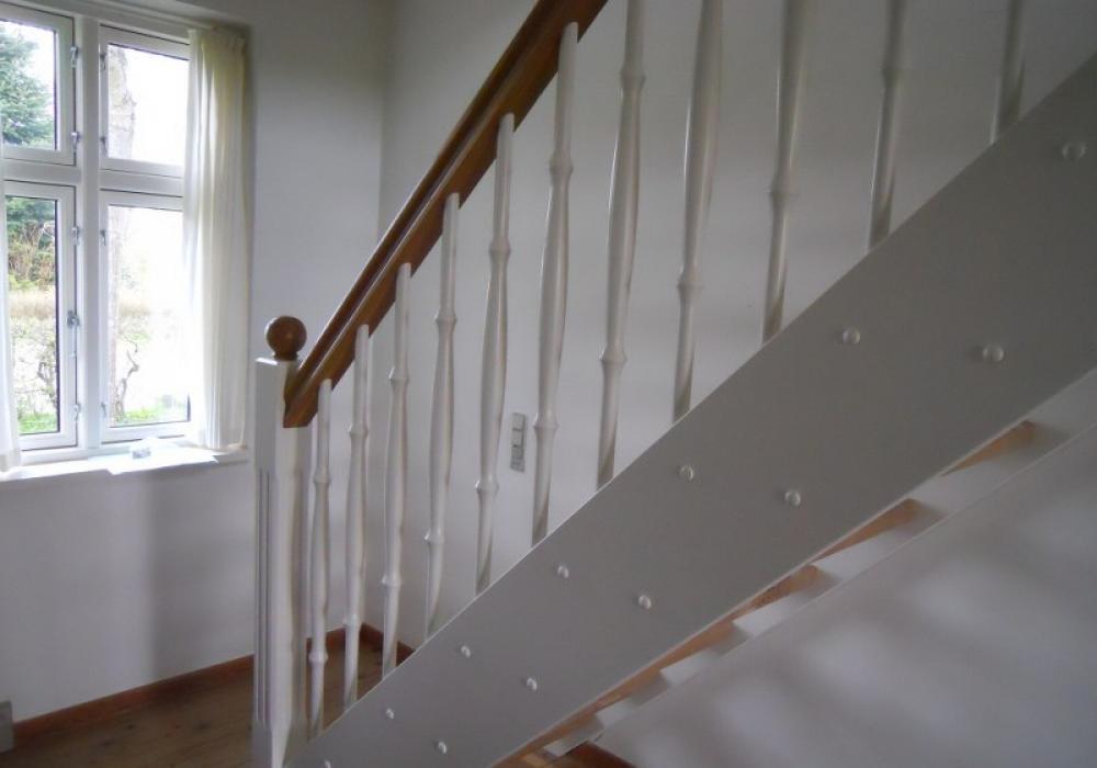 træ gulv med trappe gelænder